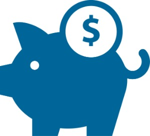 Piggy bank with money icon illustration