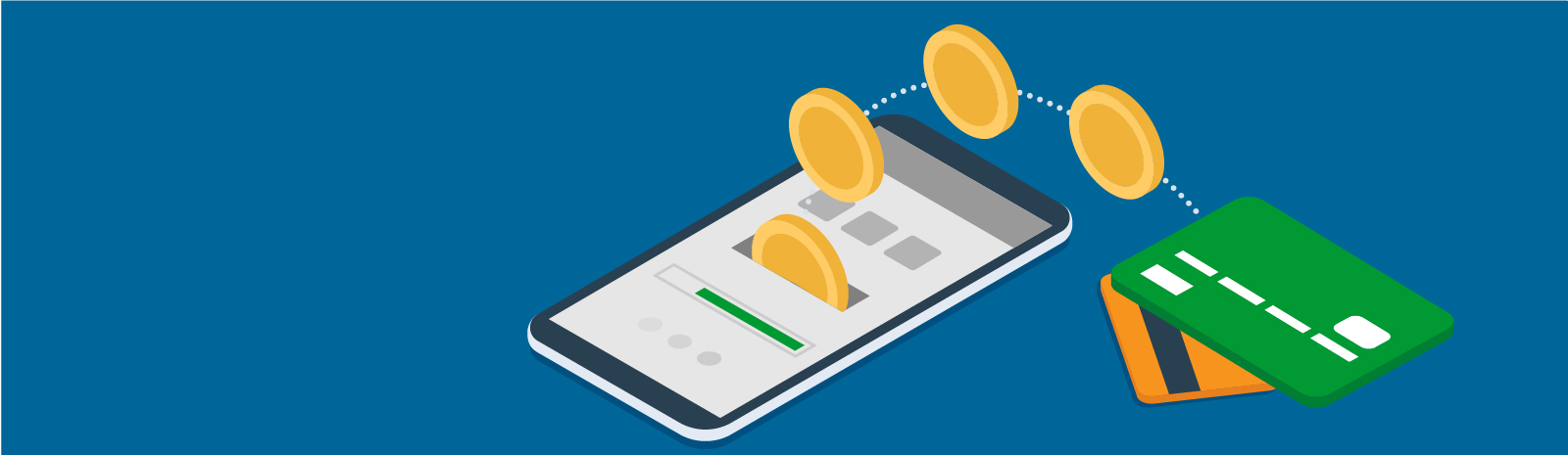 credit card and coins going into mobile phone illustration
