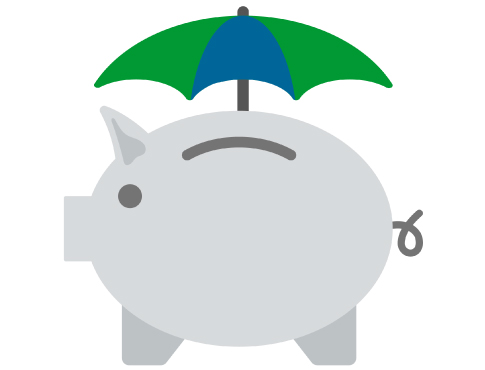 piggy bank with umbrella illustration