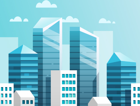 Commercial buildings in skyline illustration