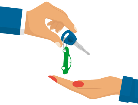 Hands exchanging car keys illustration