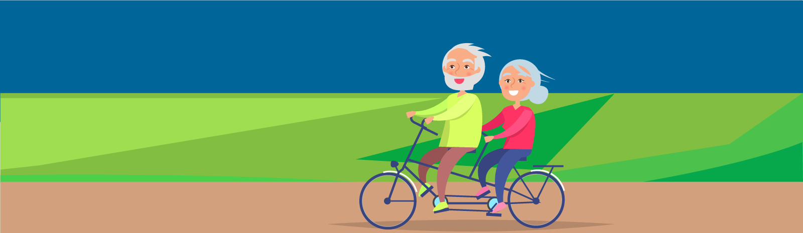 Elderly couple riding a bike outside illustration